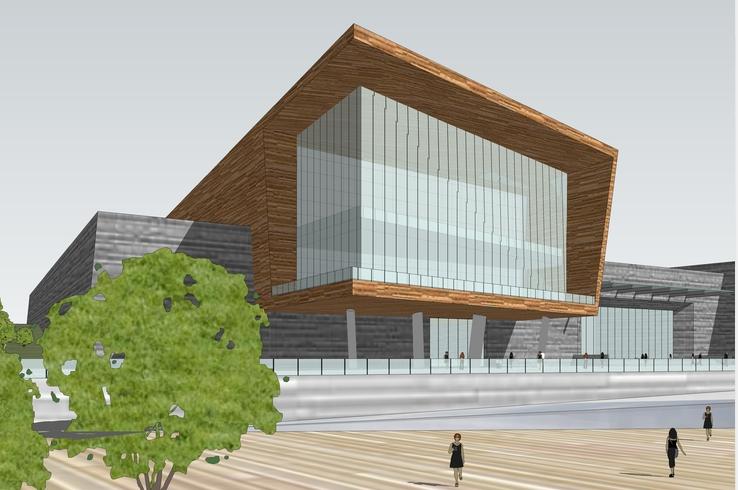 现代风格博物馆含基地设计方案sketchup模型