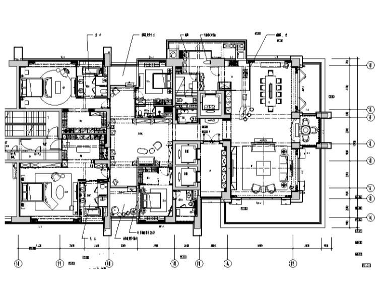 [广东]深圳一方T1-B样板房设计施工图(附效果图+材料表)