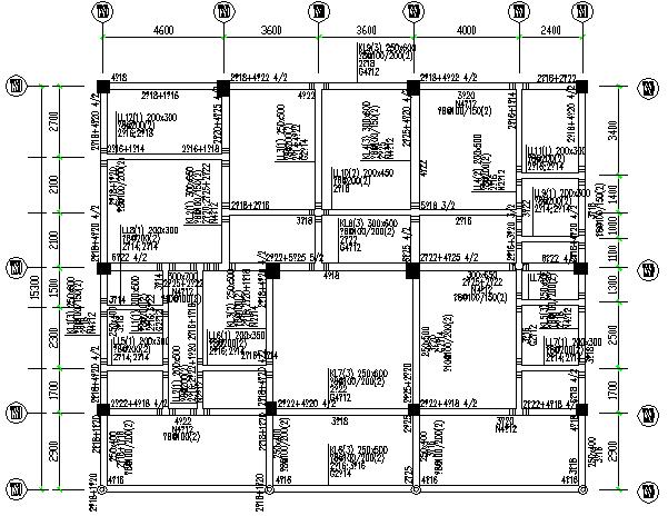 异形柱整套框架结构施工图(CAD,14张)