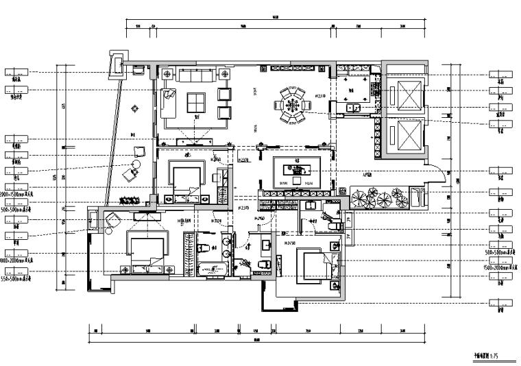 中式风格样板房设计施工图(附效果图)