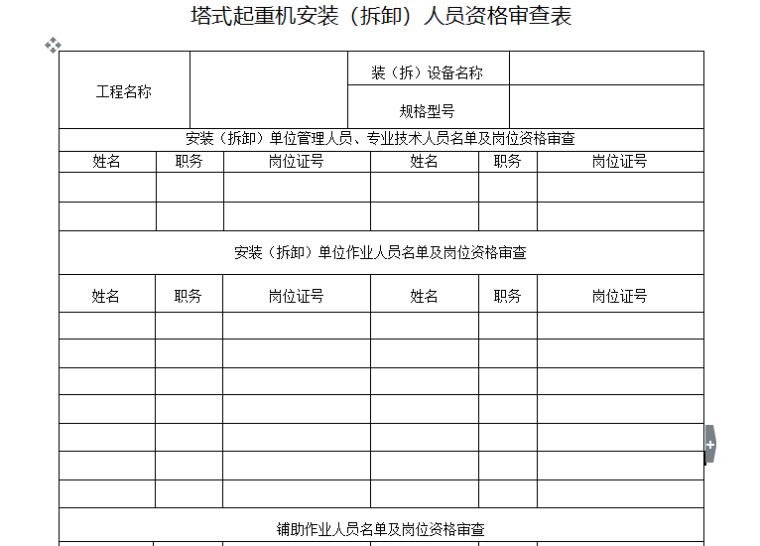塔式起重机安装(拆卸)人员资格审查表