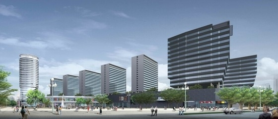 [广东]长廊并排式商业中心建筑设计方案文本-长廊并排式商业中心建筑效果图