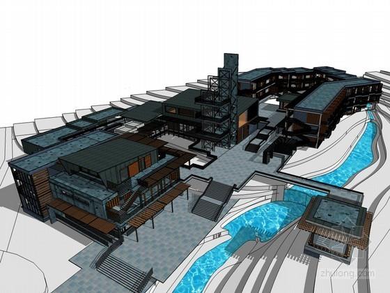山地旅馆SketchUp模型下载