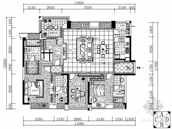 [广东]新中式四居室样板房装修图(含效果)