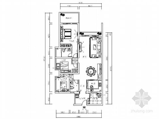 [深圳]中式风格四居室装修CAD施工图(含效果)