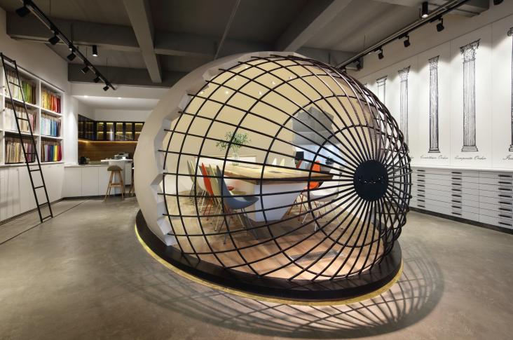 现代风格小巨蛋办公室设计CAD施工图(含实景图)_8