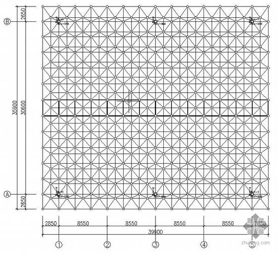 某39.9mX35.9m企业露天球场网架结构施工图