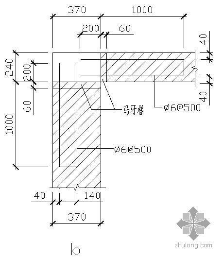 某内外墙转角及连接大样节点构造详图b