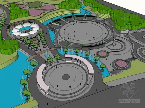 公园设计SketchUp模型下载