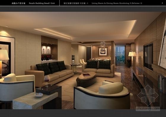 [上海]简约欧式小户型样板间软装方案(含效果图)客厅效果图