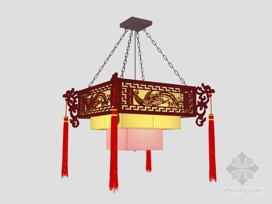 漂亮中式吊灯3D模型下载