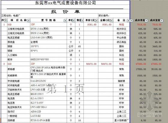 [广东]高压配电工程800KVA变压器安装报价书(含高低压成套图纸)