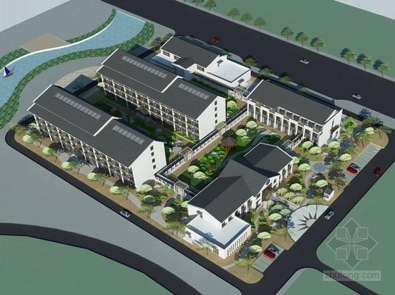 [内蒙古]新中式风格多层养护院建筑设计方案文本(含SU)