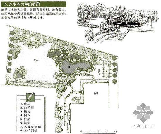 以水池为主的庭园景观设计图