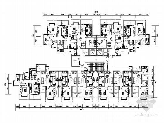高層住宅一梯十一戶標準層平面圖(64、44平方米)