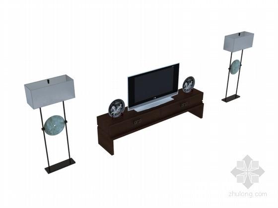 中式电视柜3D模型下载
