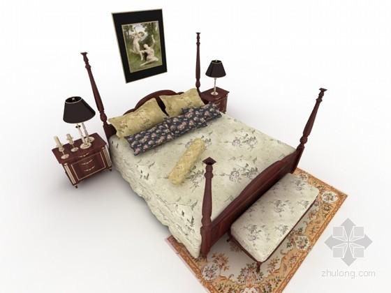 美式床组合3d模型