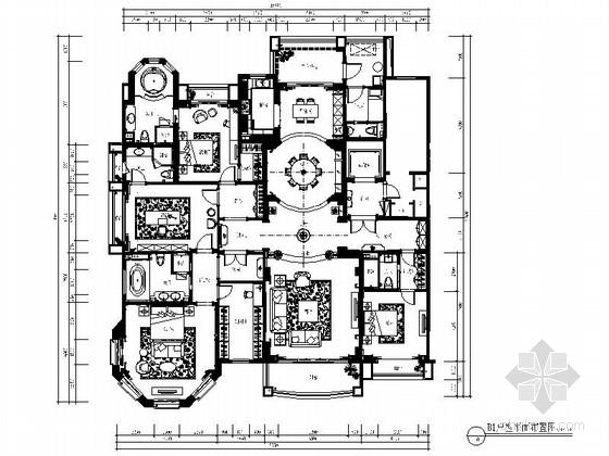 [西安]某大户型欧陆风格五居室室内装修施工图(含效果)