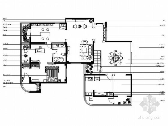 时尚简约现代两层小别墅室内装修设计施工图(含效果)
