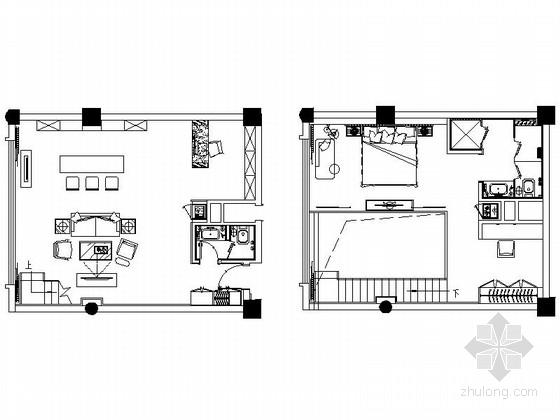[陕西]豪华五星级商务酒店loft户型套房室内装修施工图(含效果图)