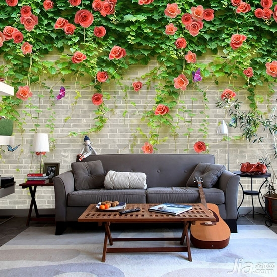 客厅背景墙也爱耍大牌你家客厅hold住吗?-客厅能成为花园?有点不可思议吧,其实不然,你的客厅背景墙就可以这样装,将墙面设计成裸砖的形式,然后用3D的立体花进行装饰,就可以永远将春天留在家里啦。