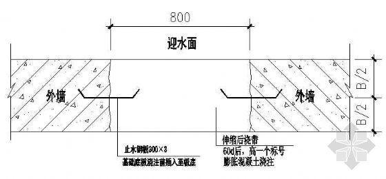 地下室外墙后浇带防水构造节点图