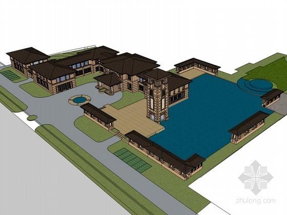 大气欧式建筑SketchUp模型下载