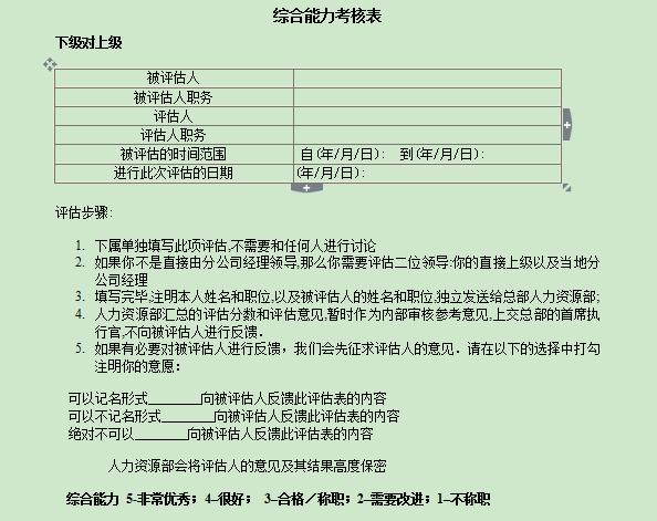 综合能力考核表