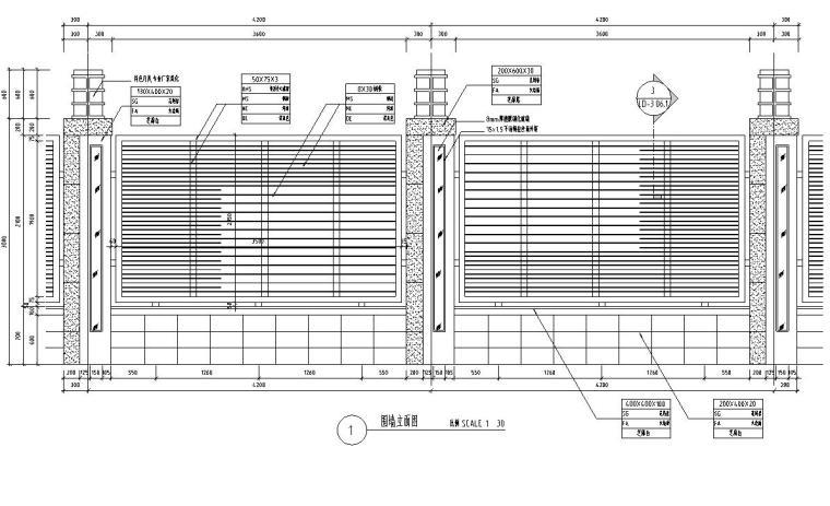 特色围墙设计详图(砖砌结构+铁艺)