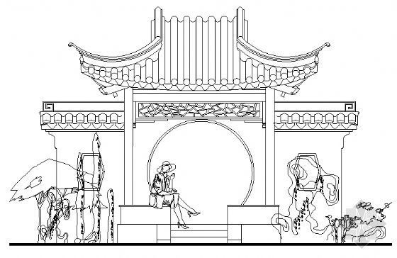古建亭子建筑方案图系列-景墙月洞方亭