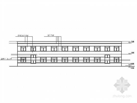 多层简洁初级中学教学楼及宿舍立面图