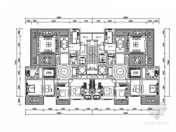 某高层住宅小区两梯两户平面图(260平米)