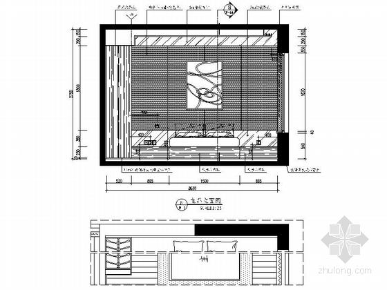 [杭州]现代简约三居室样板间装修图(含效果)主卧立面图