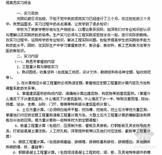预算员实习报告(2011)
