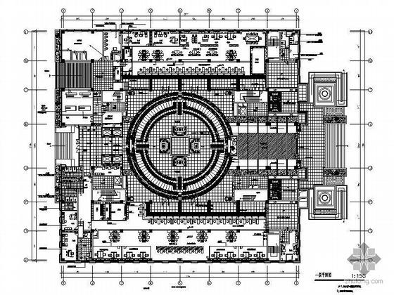 中国人民银行新营业办公楼内装竣工图(装饰+效果图+水电)