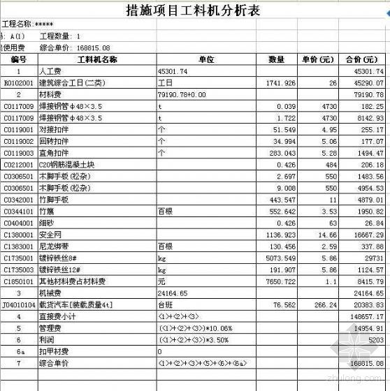 广西某商业住宅楼工程地下室土建清单报价(2007年新建工程)