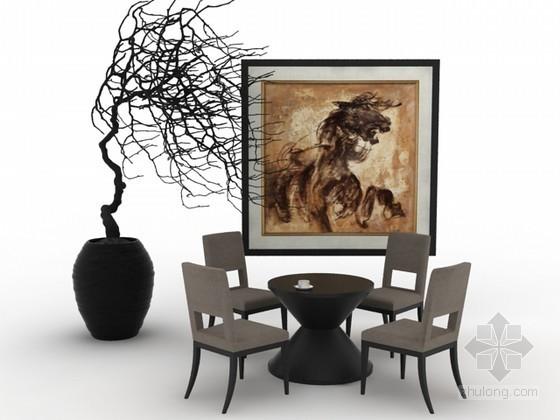 椅子茶几组合家具3d模型下载