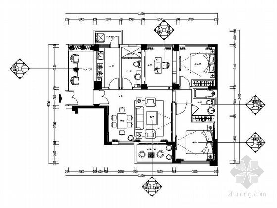 [广州]地中海风格两居室样板房室内设计施工图(含效果图)
