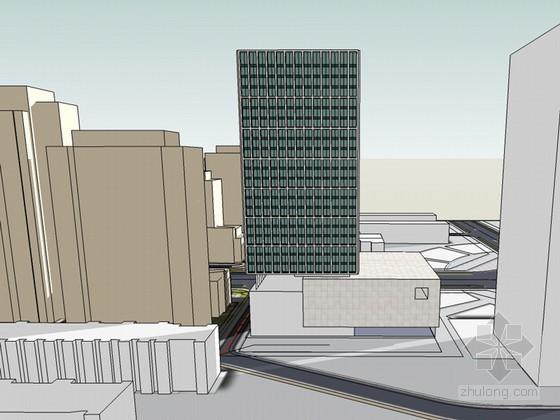 城市办公建筑SketchUp模型下载-城市办公建筑