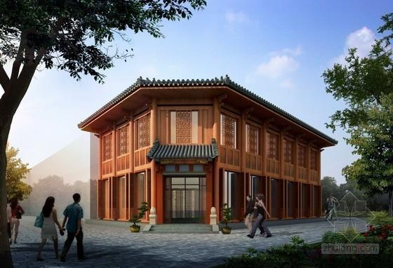 某二层仿古建筑茶楼建筑方案图(含效果图)