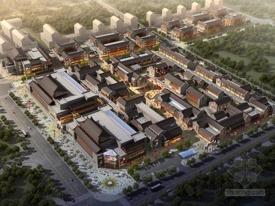 [山东]仿古风格步行商业街概念性修建规划设计方案文本(含CAD)