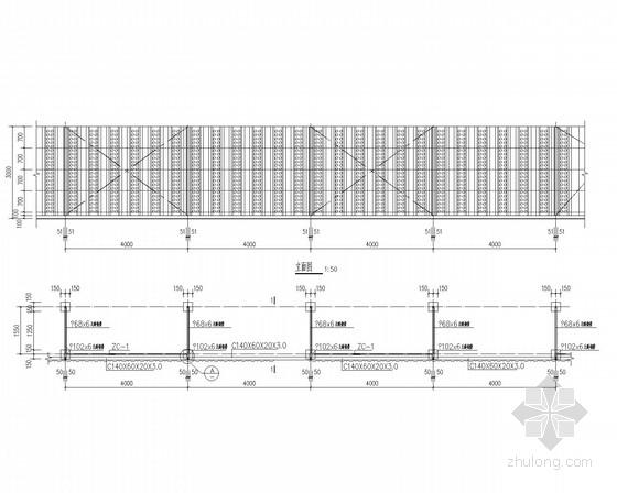钢结构挡风墙施工图(条形基础)