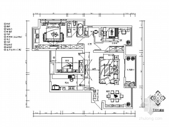 [长沙]混搭风格三居室装修设计施工图(含效果和实景)
