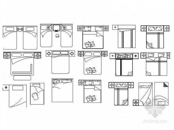 时尚床平面CAD图块下载
