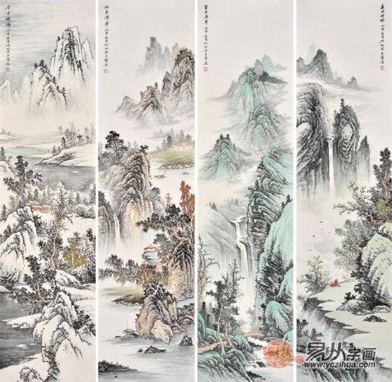 譬如,大幅山水画可分段来画,分则为单条,合则为一体;春,夏,秋,冬更是