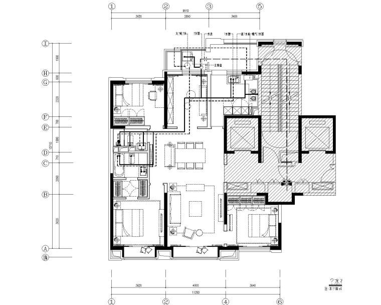 [北京]万科翡翠长安现代中式轻奢样板间设计方案+CAD全套施工图+物料书+效果图_2