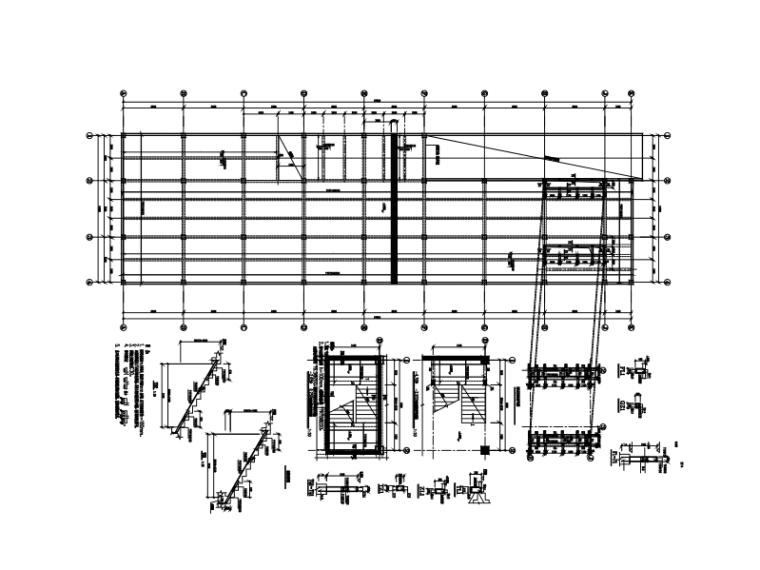 单层矩形柱框架结构地下车库结构施工图(CAD、6张)
