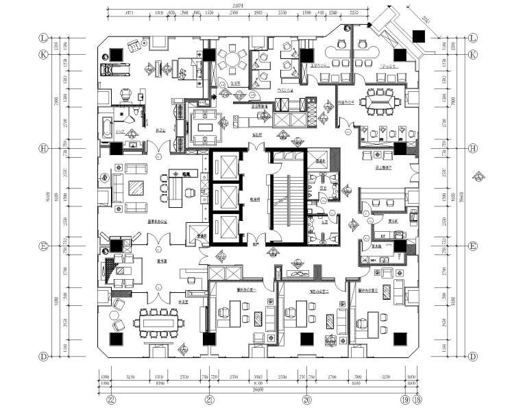 西安富力地产办公空间装修施工图