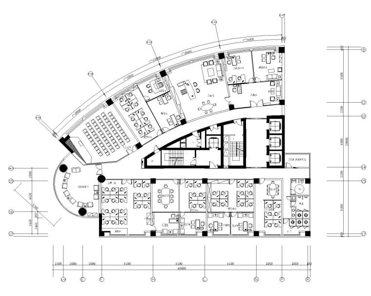 山东鹏宇实业办公空间装修CAD施工图
