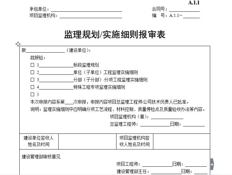 监理规划/实施细则报审表